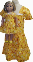 Size 6 yellow girl dress & matching doll dress