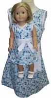 Size 7 Blue Floral A Line Matching Girl Doll Dress
