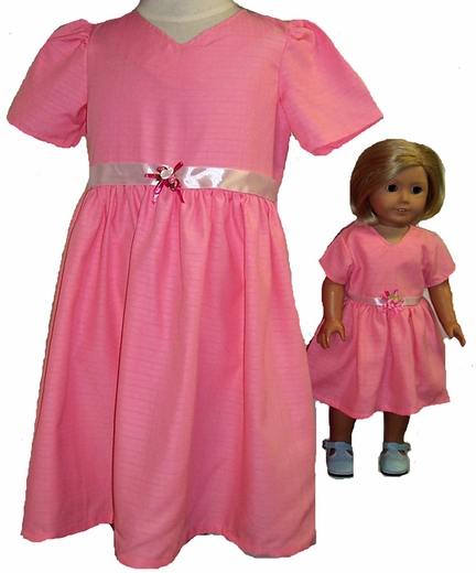 Size 7 Elegant Pink Dress With Matching Doll Dress Available