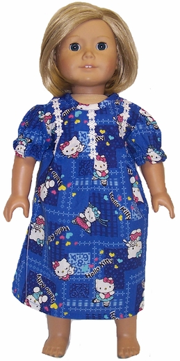 Size 7 Girl Hello Kitty Nightgown Matching Doll Available