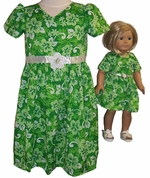 Size 7 Green Dress With Matching Doll Dress Available