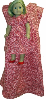 Size 7 Matching Girl and Doll Red Calico Dress