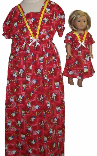 Matching Girl And Doll Red Hello Kitty Nightgown Size 7