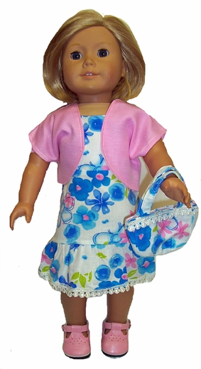 Matching Girl & Doll Clothes Sundress, Jacket, Purse  Size 10