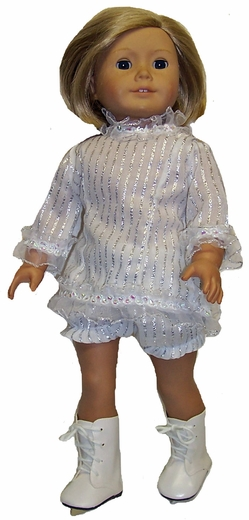 White And Silver Ice Skating Outfit For American Girl Dolls
