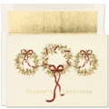3 Gold Wreaths Boxed Holiday Cards
