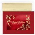 Burgundy Happy Holidays Cards - 16 Greeting Card Sets