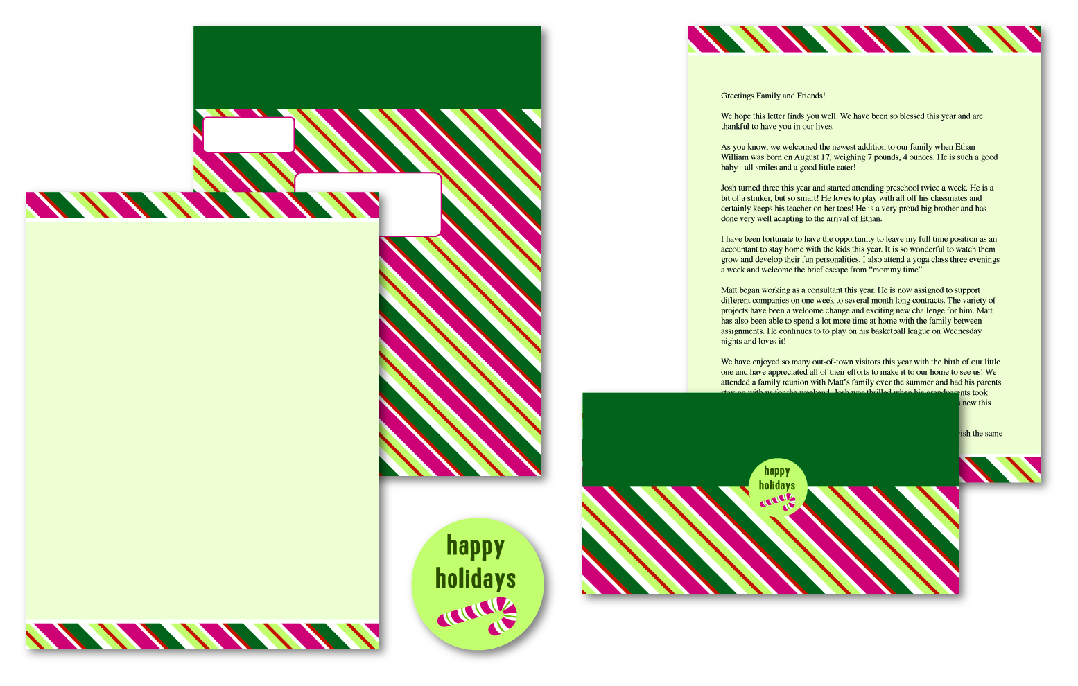 Candy Cane Stripes Self Mailers - 50 Mailers / Seals ...