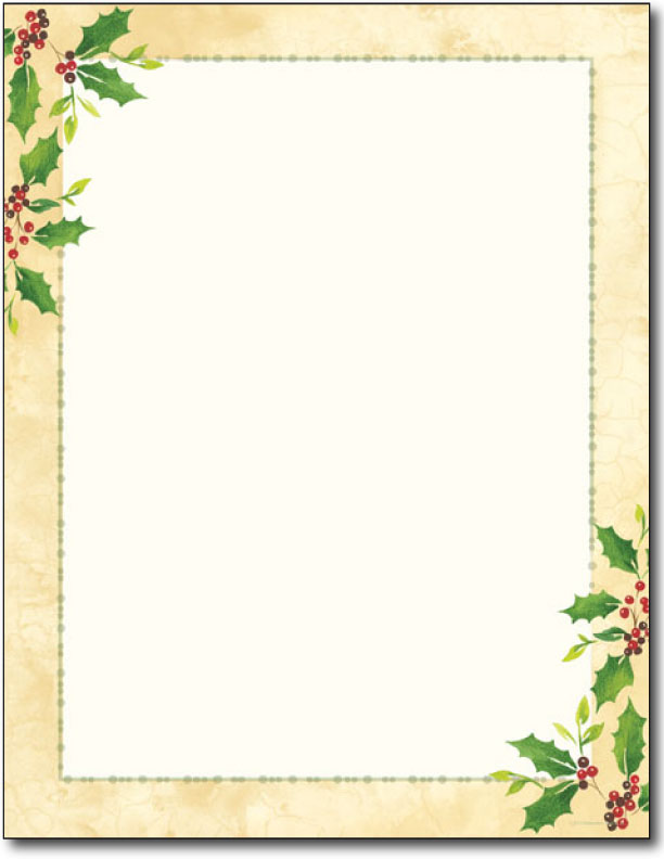 Falling Holly Holiday Letterhead - 80 Sheets - Holiday Paper & Christmas Stationery ...