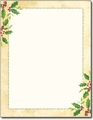 Falling Holly Holiday Letterhead - 80 Sheets
