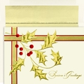 Gold Holly Branch Boxed Holiday Cards - 16 Cards And Envelopes