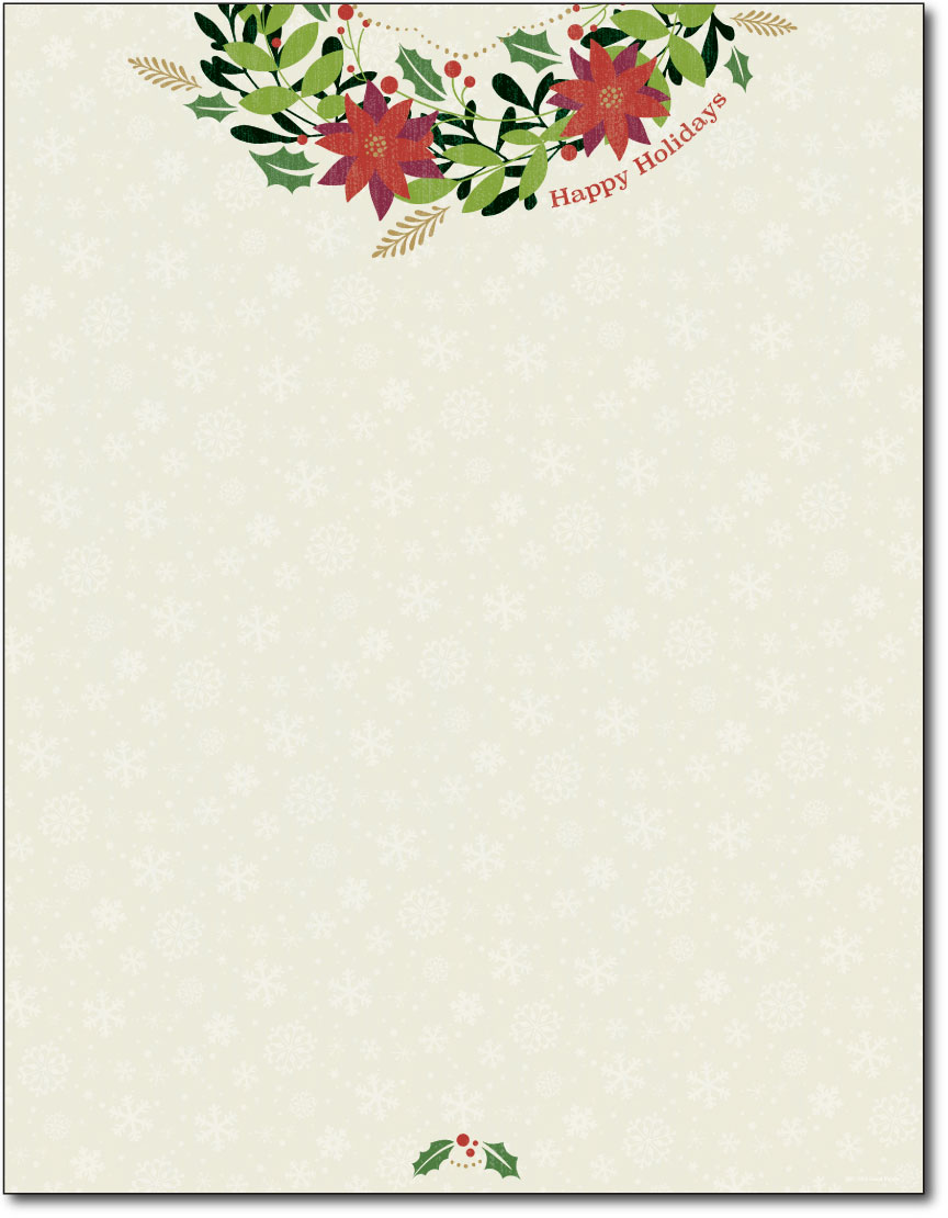 Happy Holiday Wreath Letterhead - 80 Sheets - Holiday Paper ...