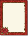 Poinsettia Damask Holiday Letterhead - 80 Sheets