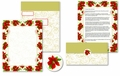 Poinsettia Swirl Self Mailers - 50 Mailers / Seals
