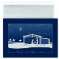 Silver Nativity Boxed Holiday Cards - 16 Cards And Envelopes