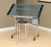 Craft Table with Glass Top free matching stool- Vision Hobby & Craft Table Studio Design 10 Year Warranty (Oversized Add 45.00 Shipping)