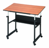 "MiniMaster Drafting Table Black Base Woodgrain 24X36"" Top"