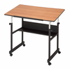 "MiniMaster II Drafting Table Black Base Woodgrain 24"" x 40"" Top by Alvin"