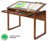 Ponderosa Wood Drafting Desk with Glass Top by Studio Designs (oversized add 40.00 for shipping)