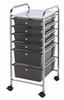 Rolling Storage Carts Alvin Smoke Black Mobile Storage Carts