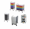 Rolling storage carts and mobile storage carts