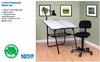 Ultima Drafting Table Black & Chair 3 Piece Workstation by Studio Designs (oversized add 50.00 shipping)