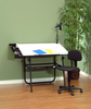 Ultima Drafting Table Black & Chair 4 Piece Workstation by Studio Designs (oversized add 50.00 shipping)