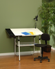 Ultima Drafting Table White & Chair 4 Piece Workstation by Studio Designs (oversized add 50.00 shipping)