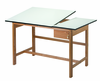 Wood Drafting Table Titan II Alvin Split Top 37.5x60 One Drawer (Ships Truck $100.00 Flat Fee)