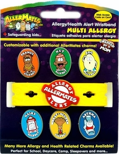 AllerMates Multi Allergy Wristband Plus Six Allergy Charms [Includes Asthma Charm!] BLOWOUT SALE!