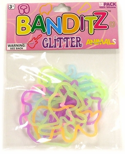 Banditz Shaped Rubber Band Bracelets 12-Pack Animals [Glitter] BLOWOUT SALE!