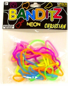 Banditz Shaped Rubber Band Bracelets 12-Pack Christian [Neon] BLOWOUT SALE!