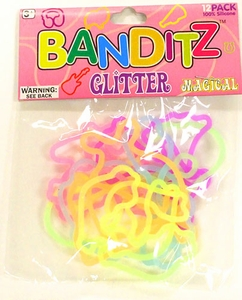 Banditz Shaped Rubber Band Bracelets 12-Pack Magical [Glitter] BLOWOUT SALE!