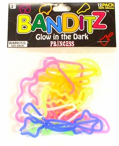 Banditz Shaped Rubber Band Bracelets 12-Pack Princess [Glow In The Dark] BLOWOUT SALE!