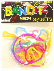 Banditz Shaped Rubber Band Bracelets 12-Pack Sports [Neon] BLOWOUT SALE!