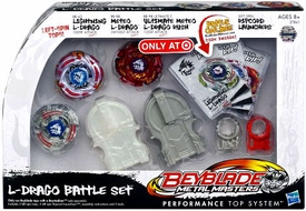 Beyblades Metal Masters Exclusive L-Drago Battle Set [Lightning L-Drago, Meteo L-Drago & Ultimate Meteo L-Drago Rush with Ripcord Launcher]