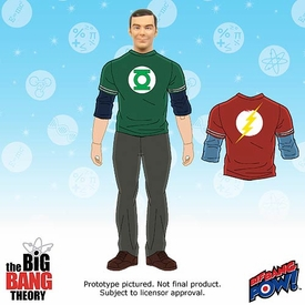 Big Bang Theory Retro Style Action Figure Sheldon [Green Lantern & Flash Shirt] Pre-Order ships October