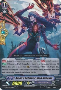 Cardfight Vanguard ENGLISH Binding Force of the Black Rings Single Card RR Rare BT12/017 Amon's Follower, Vlad Specula
