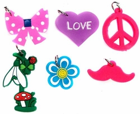 Charms for Rainbow Band Loom Bracelets Peace, Heart, Flowers, Bow & Mustache Charms [6 Charms]