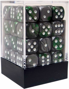 Chessex Dice Gaming Supplies Gemini 12mm d6 Dice Block Green-Steel/White [36 Count]