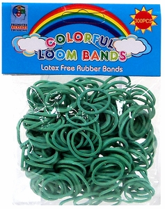 Colorful Loom Bands 300 Green Rubber Bands with 'S' Clips