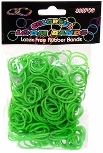 Colorful Loom Bands 300 Neon Green Rubber Bands with 'S' Clips