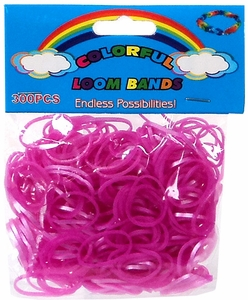Colorful Loom Bands 300 Pink Jelly Rubber Bands with 'S' Clips