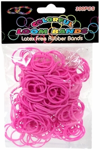 Colorful Loom Bands 300 Pink Rubber Bands with 'S' Clips