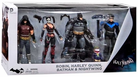 DC Collectibles Batman Arkham City Action Figure 4-Pack [Batman, Nightwing, Harley Quinn & Robin] New!