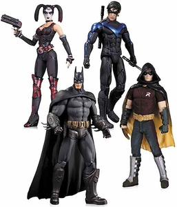 DC Collectibles Batman Arkham City Action Figure 4-Pack [Batman, Nightwing, Harley Quinn & Robin] Pre-Order ships September