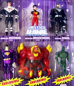 DC Super Heroes Justice League Unlimited Exclusive Action Figure 6-Pack [Superman, Wonder Woman, Batman, Bizarro, Repainted RED Doomsday & Amazo] Purple Package!