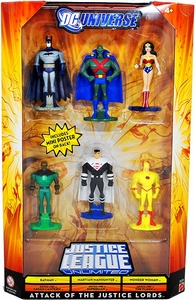 DC Universe Justice League Unlimited Exclusive Mini Figure 6-Pack Attack of the Justice Lords [Batman, Martian Manhunter, Wonder Woman, Green Lantern, Superman & Flash]