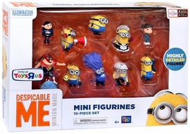 Despicable Me Minion Made Exclusive PVC 2 Inch Mini Figure 10-Piece Set [El Macho, Purple Minion, Young Gru, Bedtime Agnes, Maid, Fireman, Tim, Dave with Cupcake, Jerry & Worker]