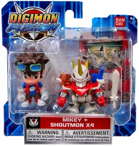 Digimon Fusion Mini Figure 2-Pack Mikey & Shoutmon X4